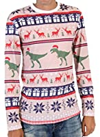 T Rex Pattern Long Sleeve Ugly Christmas T-Shirt