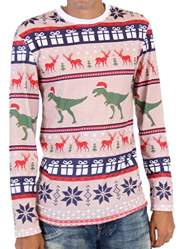 T Rex Pattern Long Sleeve Ugly Christmas T-Shirt (X-Large)]()
