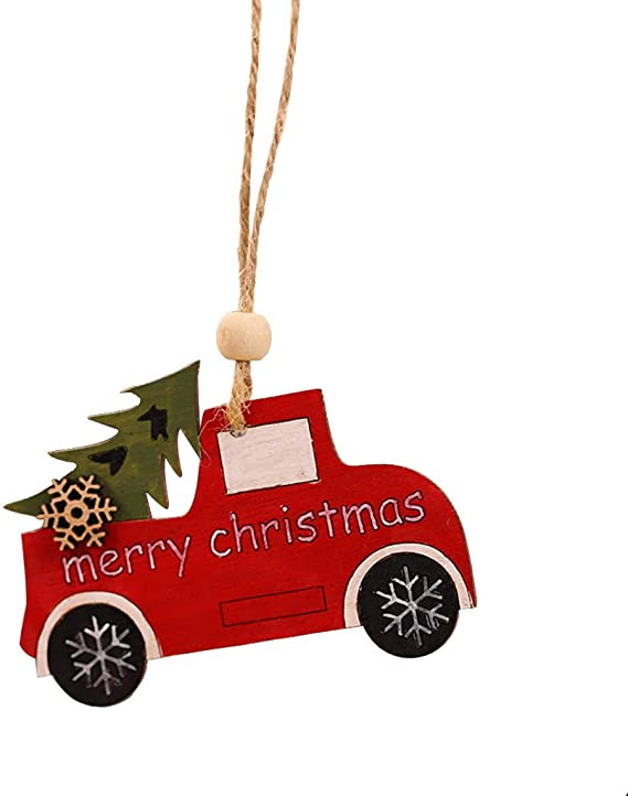 Amazon Com Fundiscount 1pc Wooden Christmas Tree Hanging Cabin Elk Car Tags Ornament Diy Crafts Pendant Decor Xmas Party Home Decorations Red Truck Kitchen Dining