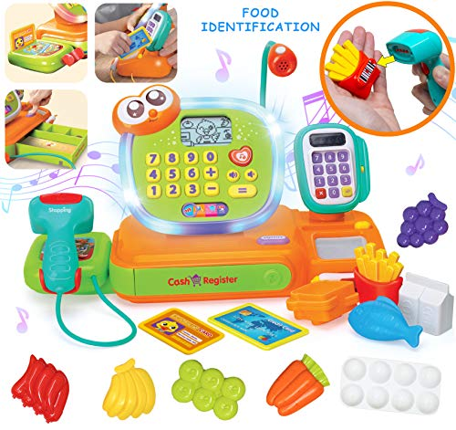 JOYIN Smart Cash Register Pretend Play Cashier with Scanner, Microphone, Play Money and Grocery Toy for Kid Boys and Girls, Toddler Interactive Learning, Educational, and Classroom ()