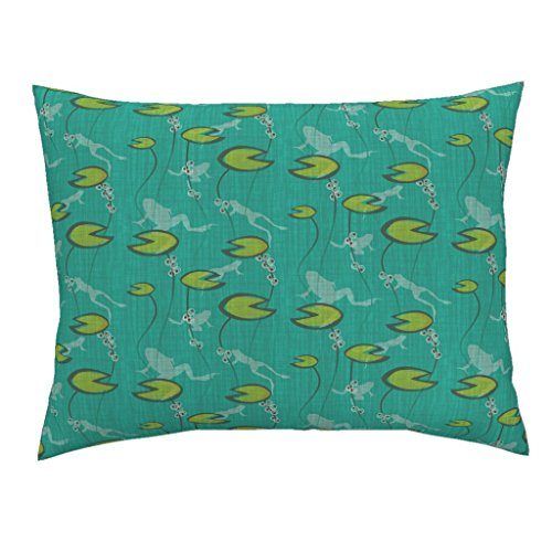 Roostery Frogs Amphibians Spring Toads Frog Egg Tadpole Euro Knife Edge Pillow Sham The Frog Pond by Thecalvarium 100% Cotton Sateen