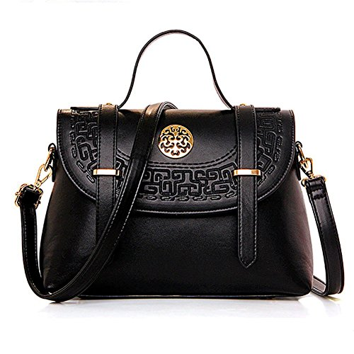 Flanco New Womens Chinese Style Clamshell Shoulder Bag Mobile Messenger Bag Belt(black)