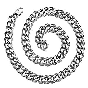 Granny Chic 12/15/17/19mm Mens Chain Necklace Stainless Steel Curb Cuban Link Choker Hip Hop Xxxtentacion Miami Rapper Necklace (24 inches, 15mm)