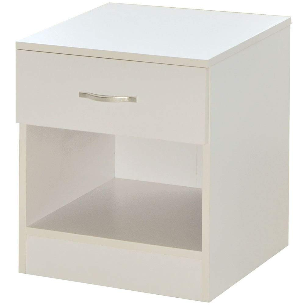 Home Discount White Bedside Cabinet, 1 Drawer With Metal Handles & Runners, Unique Anti-Bowing Drawer Support, Riano Bedroom Furniture
