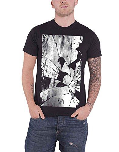 Korn T Shirt Shattered Glass Mirror Contrast Band Logo Official Mens Black ()