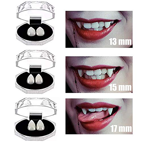 3 Pairs Vampire Teeth Fangs Halloween Custom Vampire Zombie Devil Fake Dentures Fit Halloween Cosplay Party Fangs Favors 13mm 15mm 17mm]()
