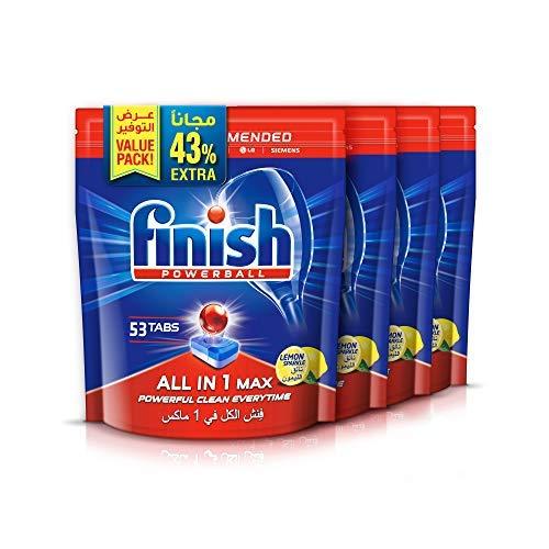 Finish Dishwasher Detergent Tablets All in One, Lemon, 212 Tablets (Pack of 4)