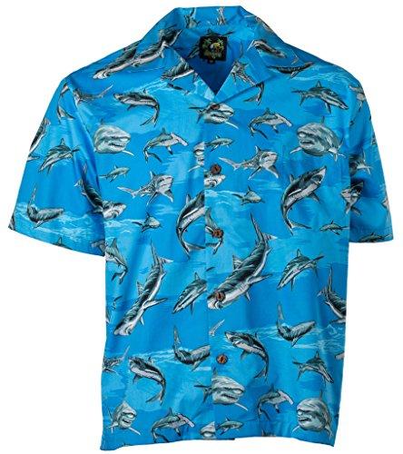 Bennys Mens Sharks Parrothead Hawaiian Shirt  L  Blue