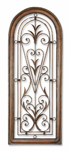 Distressed Dark Brown Over Light Brown Cristy Petite Arched Scroll And Leaf Wall Art by Uttermost