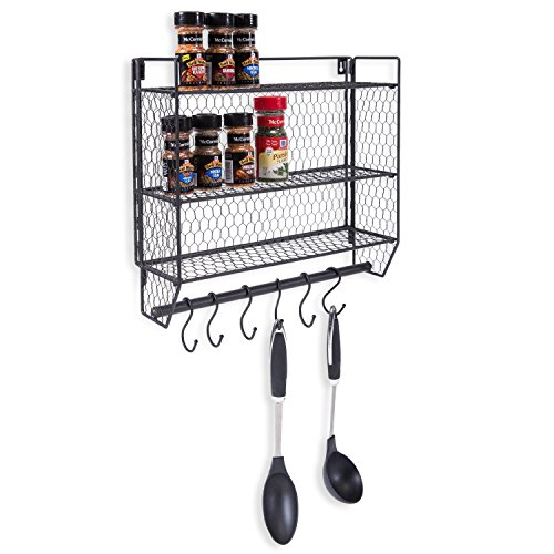 3 Tier Black Metal Chicken Wire Wall Mounted Kitchen Organizer Spice Rack with Removable (Rack Mountable Unit)
