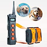 Aetertek AT-919C 1000M Remote Two Dogs Training Shock Collar, Auto Anti Bark Submersible with LCD display