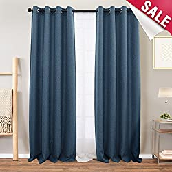 Linen Textured Blackout Curtains for Bedroom 95 inch Length Living Room Darkening Window Curtain Panels Thermal Insulated Drapes, Grommet Top, 2 Panels, Denim Blue