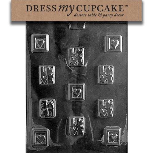 Dress My Cupcake DMCV008SET Chocolate Candy Mold, Love Squares, Set of 6