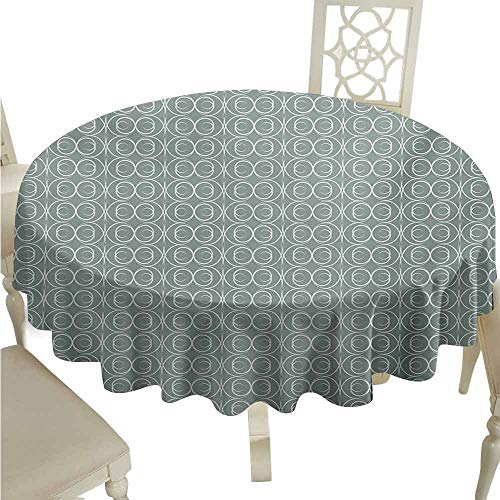 duommhome Retro Waterproof Tablecloth Medieval Authentic Style Curved Oval Floral Motifs Easy Care D43 Pale Sage Green White