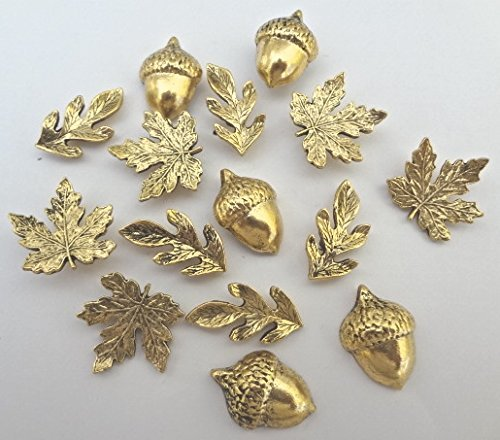 15 T322AG DECORATIVE ANTIQUE GOLD METAL LEAVES PUSH PINS