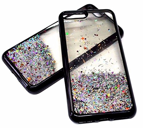 For iPhone 7+ PLUS Case Electroplated Trim Liquid Waterfall Glitter Stars Quicksand Skin Case Cover (Waterfall Trim)