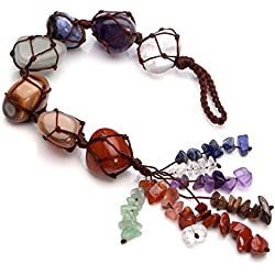 Jovivi Chakra Stones Set, 7 Chakras Healing Crystals Wall Hanger Tumbled Gemstones Tassel Spiritual Meditation Hanging Ornament/Window Ornament/Feng Shui
