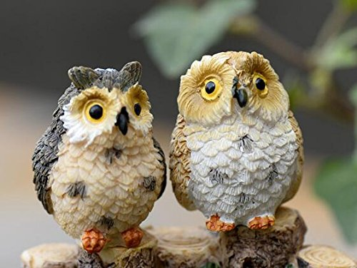 ZAMTAC 4pcs/lot Cute owl/Fairy Garden gnome Animals/Moss Terrarium Home Decor/Crafts/Bonsai/Doll House/Miniatures W12492
