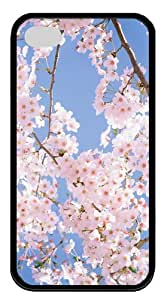 silicone cases Cherry Blossom Tree TPU Black Case for iphone 4/4S