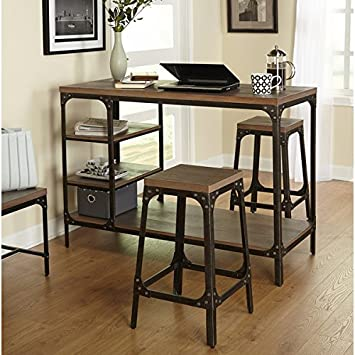 Vintage Industrial Dining Room Table. Simple Living Scholar Vintage Industrial 3 Piece Counter Height Dining Set Amazon com