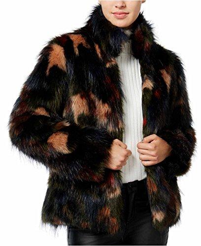 Wildflower Junior's Spotted Faux Fur Coat Jacket (Medium, Multi) by Wild Flower