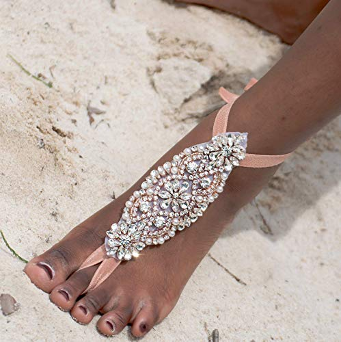 Rose Gold Bridal Barefoot Sandals, Rhinestone Foot Jewelry from MCC, Bridesmaid Party Gift, Indian jewelry