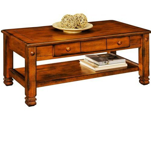 Summit Mountain Coffee Table, Rustic Oak Wood Carved Low Table TV Stand Living Room