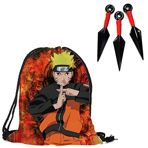 MANAL Naruto Backpack With FREE Rubber Knife Set Japanese Anime Student Cool School Children Bag For Boys Kids Men Book Drawstring D