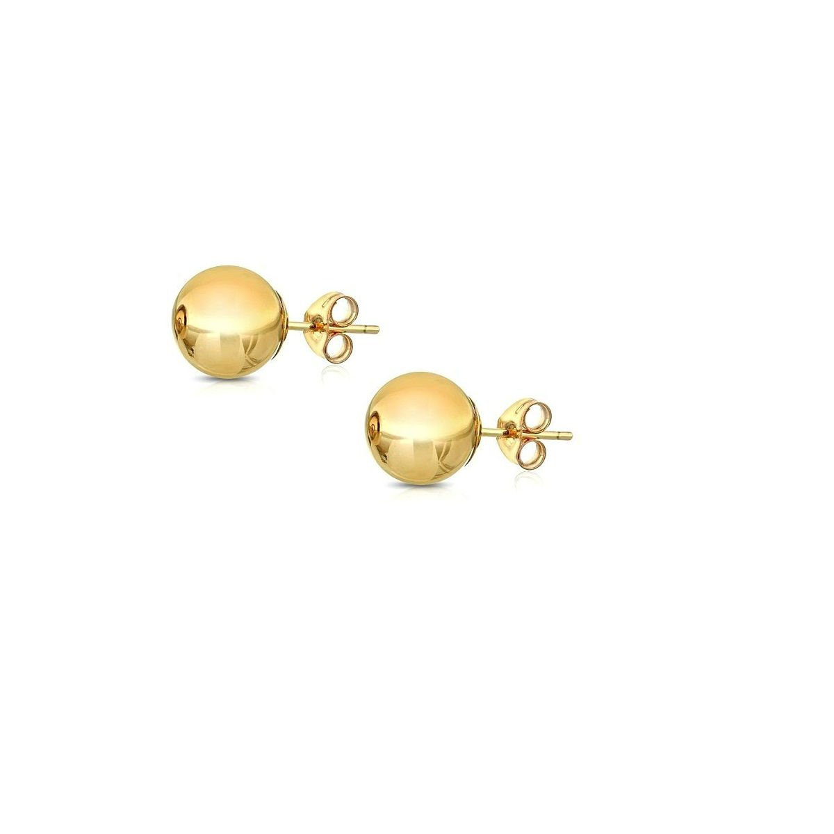 14K Gold Ball Stud Earrings, Sizes 3MM-8MM (Yellow Gold, 7)