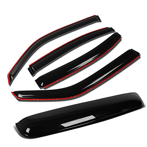 For Dodge Charger LX 4pcs In-Channel Window Vent Deflector Rain Guard +43 inches Sun Roof Visor (Dark Smoke) ()