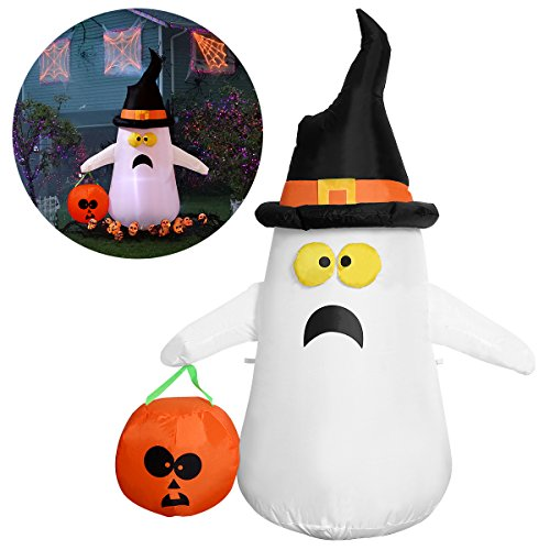 [YUNLIGHTS Halloween Inflatable Decorations for Halloween 4ft Ghost with a Witch Hat Pumpkin] (Inflatable Decoration)