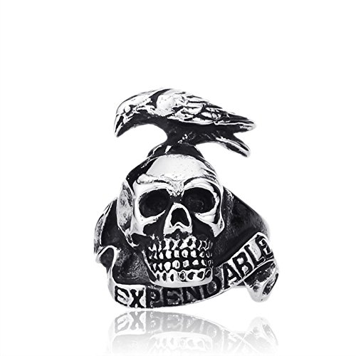 GDSTAR Punk Style Expendable Ring For Men 316L Stainless Steel Bird On Skull Ring Jewelry Man 10.0