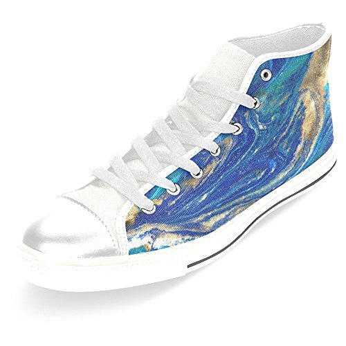 Interestprint Kvinnor Tygskor Höga Sneakers Platta Skor Snör Åt Upp Gymnastikskor Mode Mönster Abstract Blå Marmor Vit