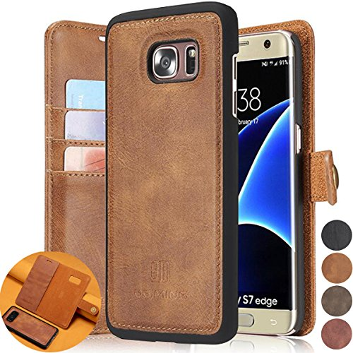 (Samsung Galaxy S7 Edge Detachable Folio Wallet Cases, AMASELL Premium Vegan Leather Removable Wallet Magnetic Flip Card Slot with Soft Inner Back Case Cover, Brown)