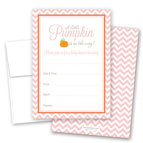 MyExpression.com 24 Little Pumpkin Chevron Baby Shower Fill-in invitations (Pink) -