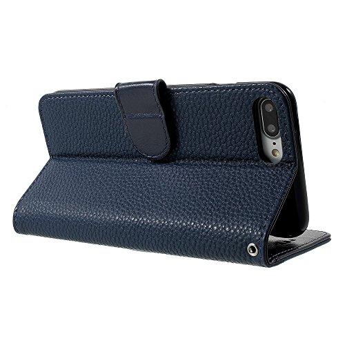 Litchi Texture Leather Wallet Stand Phone Tasche Hüllen Schutzhülle - Case für iPhone 7 Plus - blau