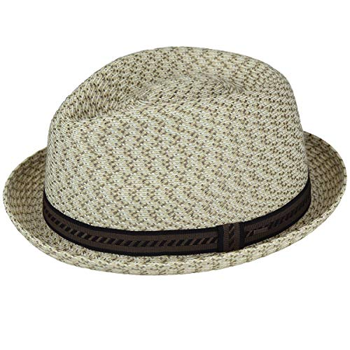 Bailey of Hollywood Men's Mannes Braided Fedora Trilby Hat, Neutral Multi, M
