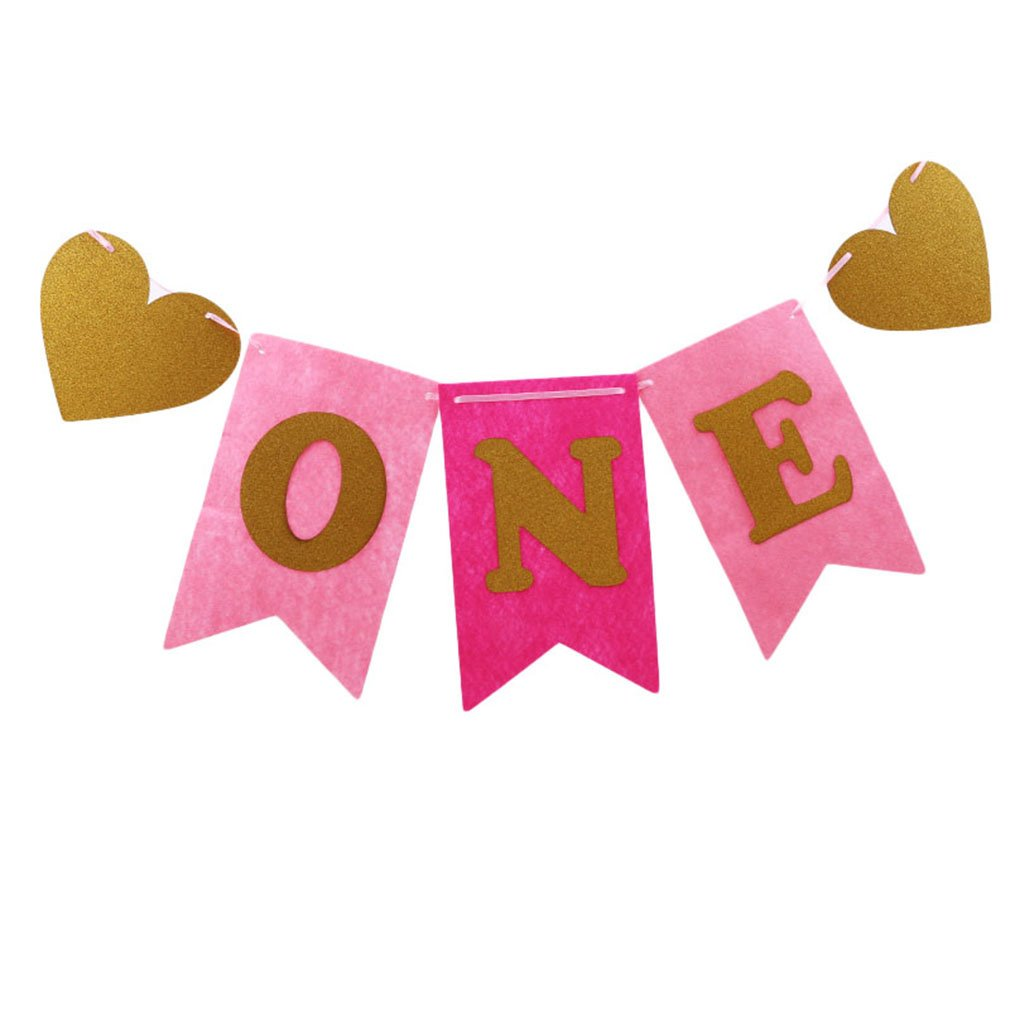 LnLyin Pink And Gold Glitter 1st First Birthday One Banner, Felt, Glitter ONE Letter And Heart Shapes, For Baby Girl, Baby Shower, High Chair Decoration, Wall Decor,Blue,One Size