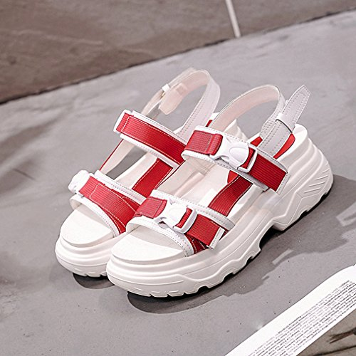 Platform Walking Wedge Fashion T Breathable White Slip Ribbon amp;red JULY Slippers Womens Sandals Ladies Girls on Comfy Dress wxqpWrXq6R