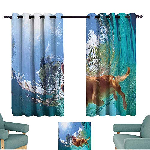 Mannwarehouse Funny Printed Insulation Curtain Underwater Photo of Golden Labrador Retriever Puppy Swimming in Pool Happy for Living, Dining, Bedroom (Pair) 63