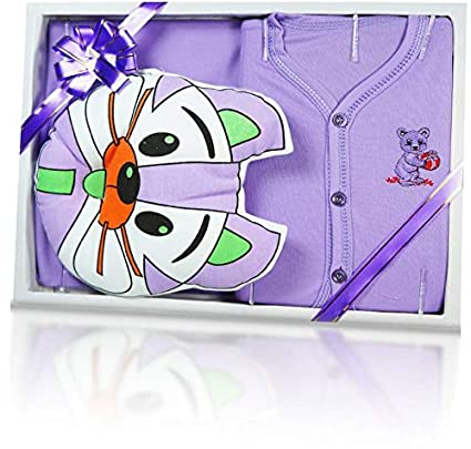 aa81a5f743f Buy Jinie Gift Set for New Born Baby boy and Girl (Purple) Online at Low  Prices in India - Amazon.in