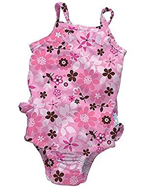 iPlay One-piece Ruffle Swimsuit with Built-in Reusable Absorbent Swim Diaper
