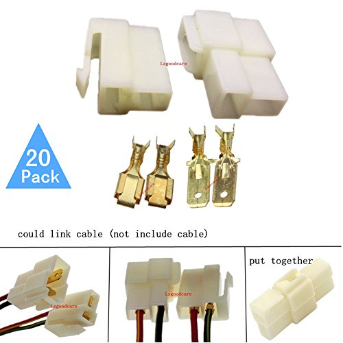(Lsgoodcare 6.3MM 2 Pin Way Electrical Automotive Wire Connector Kits Male Female Socket Plug Terminal for Motorcycle Car-Pack of 20)