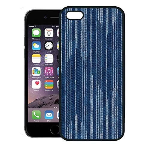 Semtomn Phone Case for iPhone 8 Plus case Cover,Blue Distressed Abstract Washed Effect Optical Chevron Navy Dyed Indigo,Rubber Border Protective Case,Black