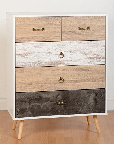 Nordica 3 + 2 Drawer Wide Chest in White & Distressed Effect from Modern Living