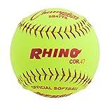 Champion Sports Synthetic Leather Softballs: 12 Inch Slow Pitch Polycore Yellow Softballs - 12 Pack