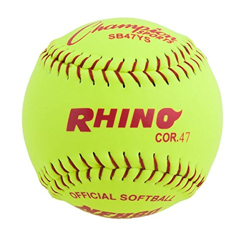 Champion Sports Synthetic Leather Softballs: 12 Inch Slow Pitch Polycore Yellow Softballs - 12 Pack