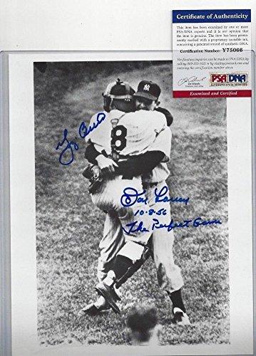 Don Larsen Yogi Berra Signed Autograph Baseball 8x10 Photo PSA/DNA Certified The Perfect (Don Larsen Autographed Photo)