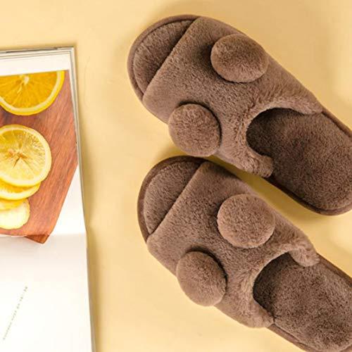 Toe Memory Brown Slippers Foam Winter Comfort Open Slippers Women Plush SxT1OwOWaq