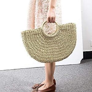 Women Large Straw Hobo Handbag Tote Rattan Bag Summer Vintage Weave Round Beach Bag
